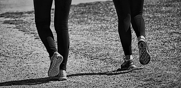 Side By Side Woman Two Person Together Walking